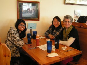 Mirza (left), Jing (far-right) talking about current and future agritourism opportunities with Annie Baggett, Agritourism Marketing Specialist (NC Department of Agriculture & Consumer Services).