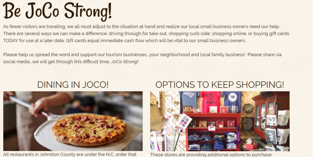 Be JOCO Strong homepage screen shot