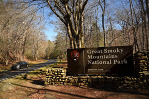 An entrance sign to Great Smoky Mountains National Park.