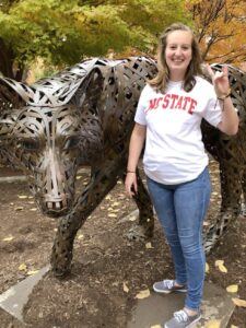 Chloe Riley showing her Wolfpack Pride