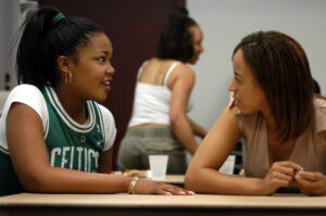 Students chat before a meeting in the African American Cultural Center in WItherspoon Student Center. PHOTO BY ROGER WINSTEAD