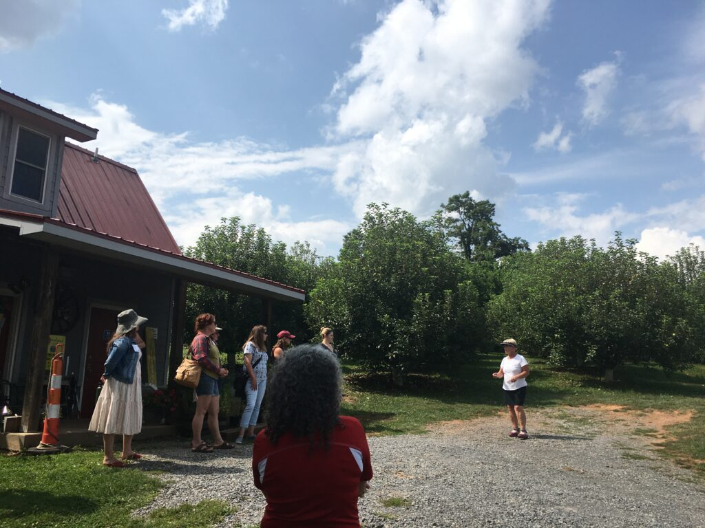 A farmer addresses a group of visitors with a backdrop of an apple orchard, blue skies and a small building. The farmer is discussing her farm's origin story and since development.
